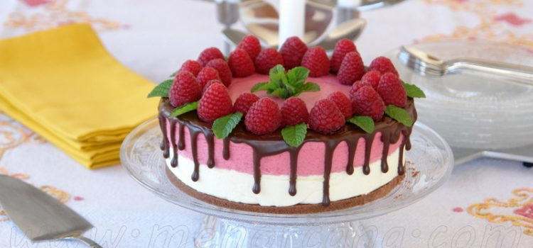 Cómo preparar tarta mousse de chocolate blanco y frambuesas (drip cake)
