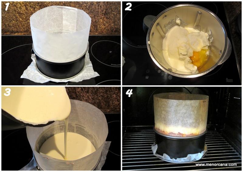 Preparación tarta de queso