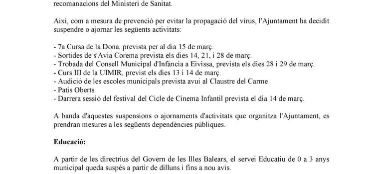 Comunicado sobre el Corona Virus del Ayuntamiento de Maó - 12 de marzo