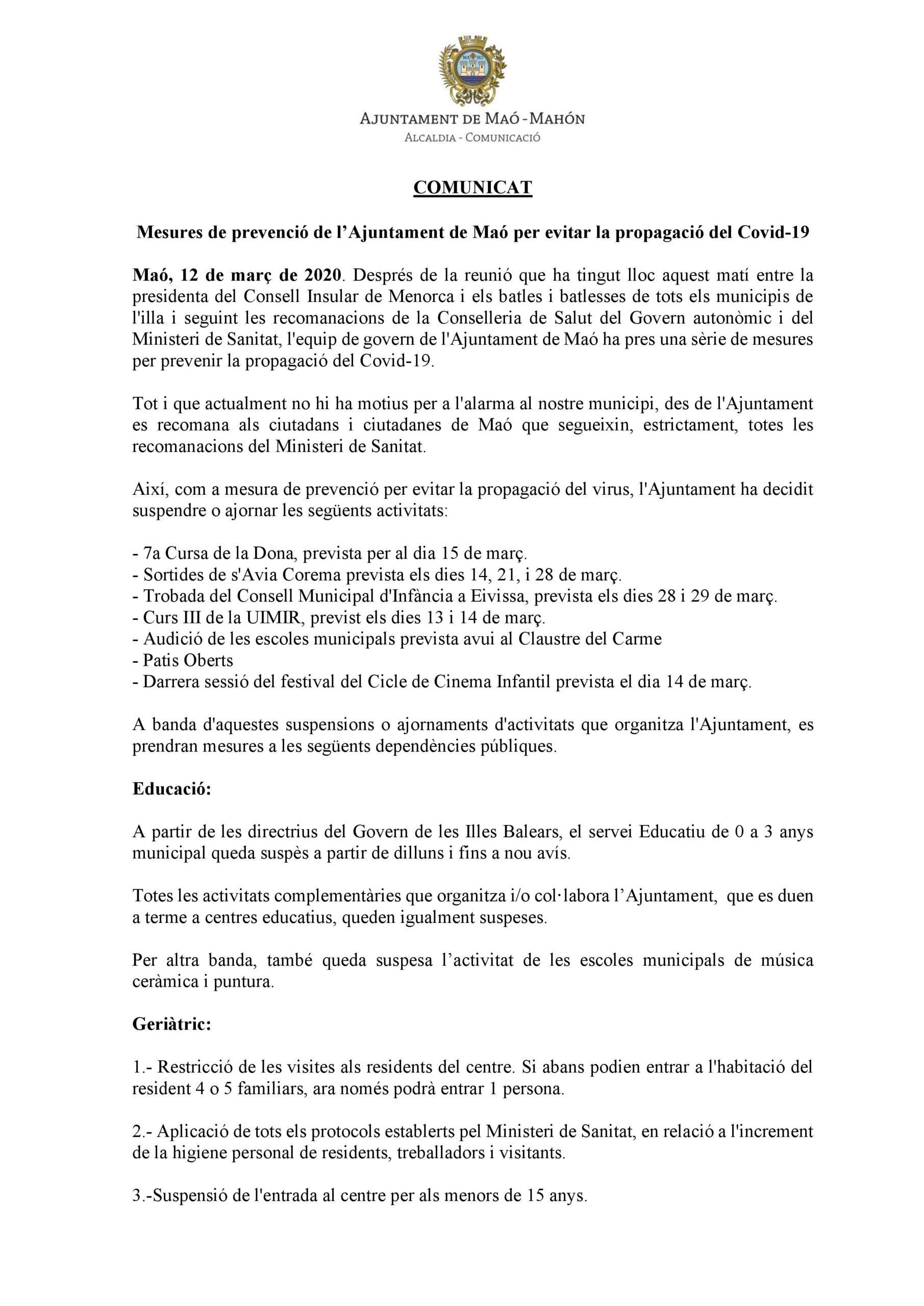 Comunicado sobre el Corona Virus del Ayuntamiento de Maó – 12 de marzo