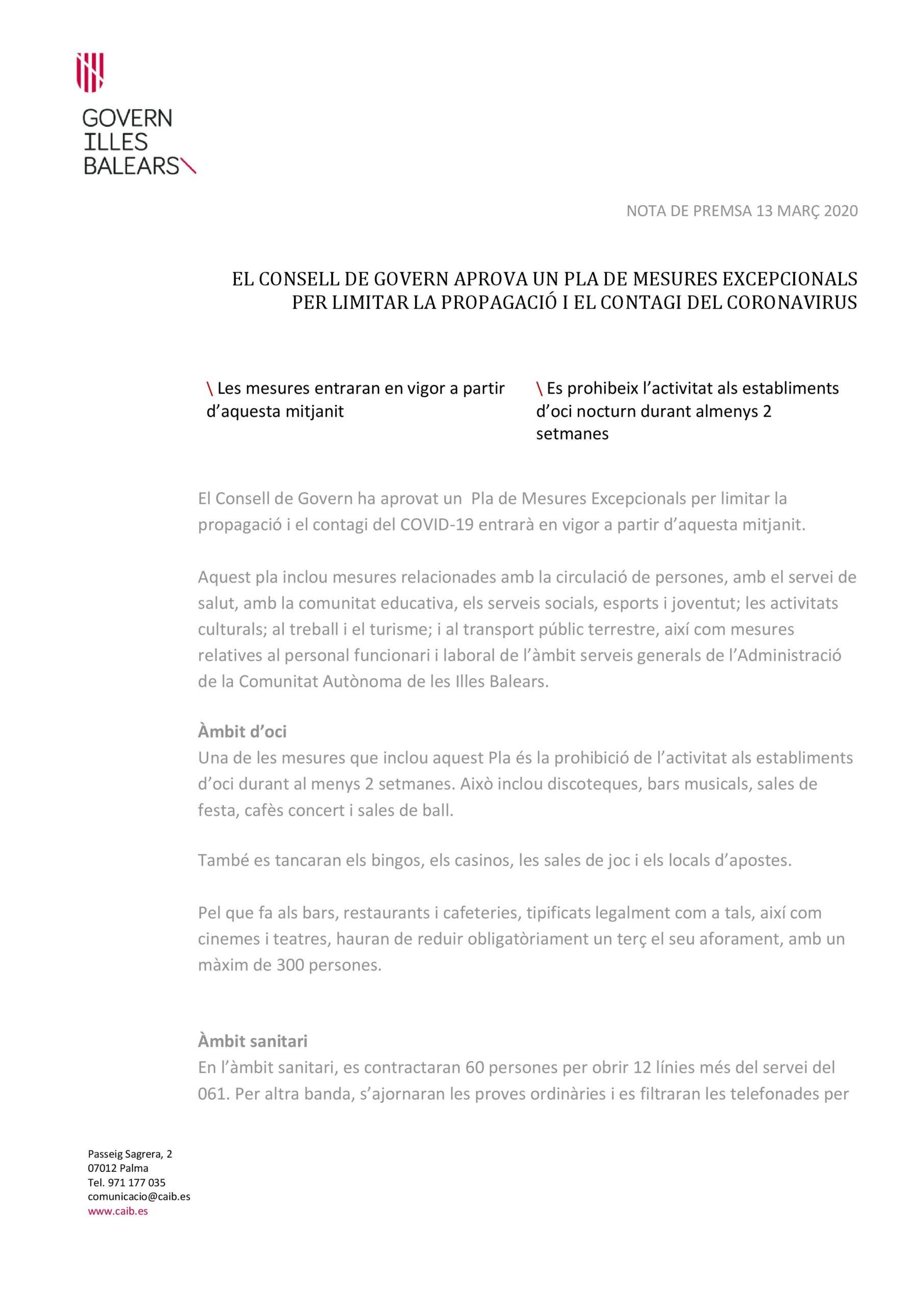COMUNICADO GOVERN BALEAR POR CORONA VIRUS - 13 Marzo 2020