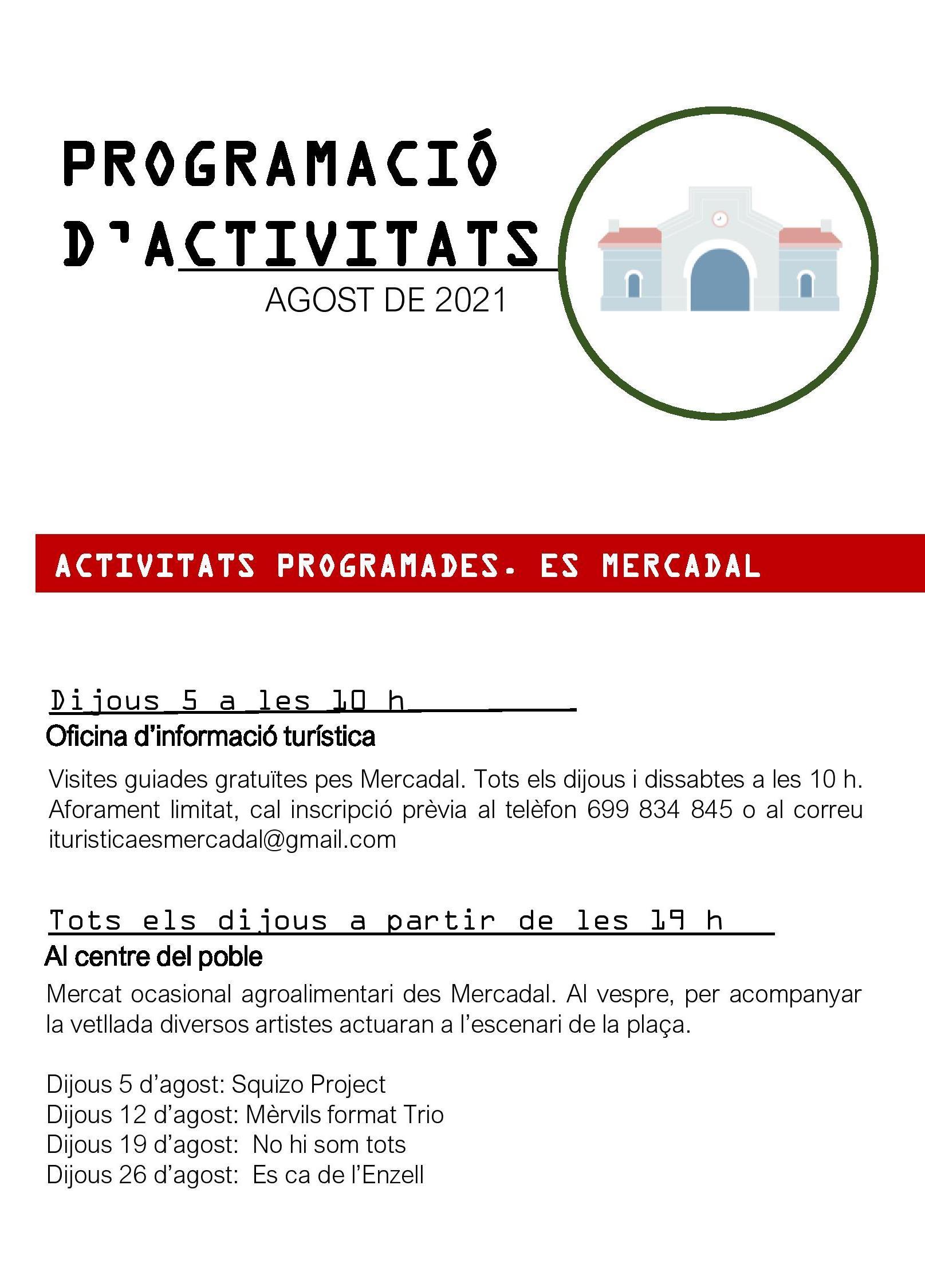 ACTIVITATS ES MERCADAL - FORNELLS - AGOST 2021